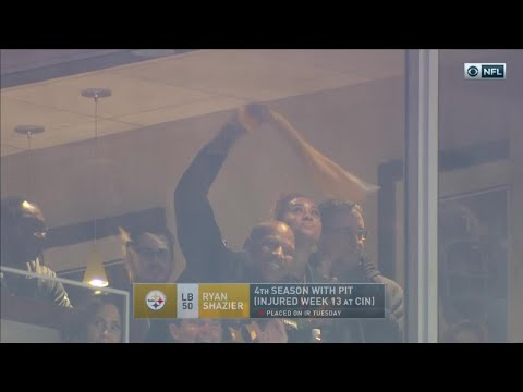 Ryan Shazier Waves Terrible Towel from Stands & Cheers On His Team! | Pats vs. Steelers | NFL Wk 15