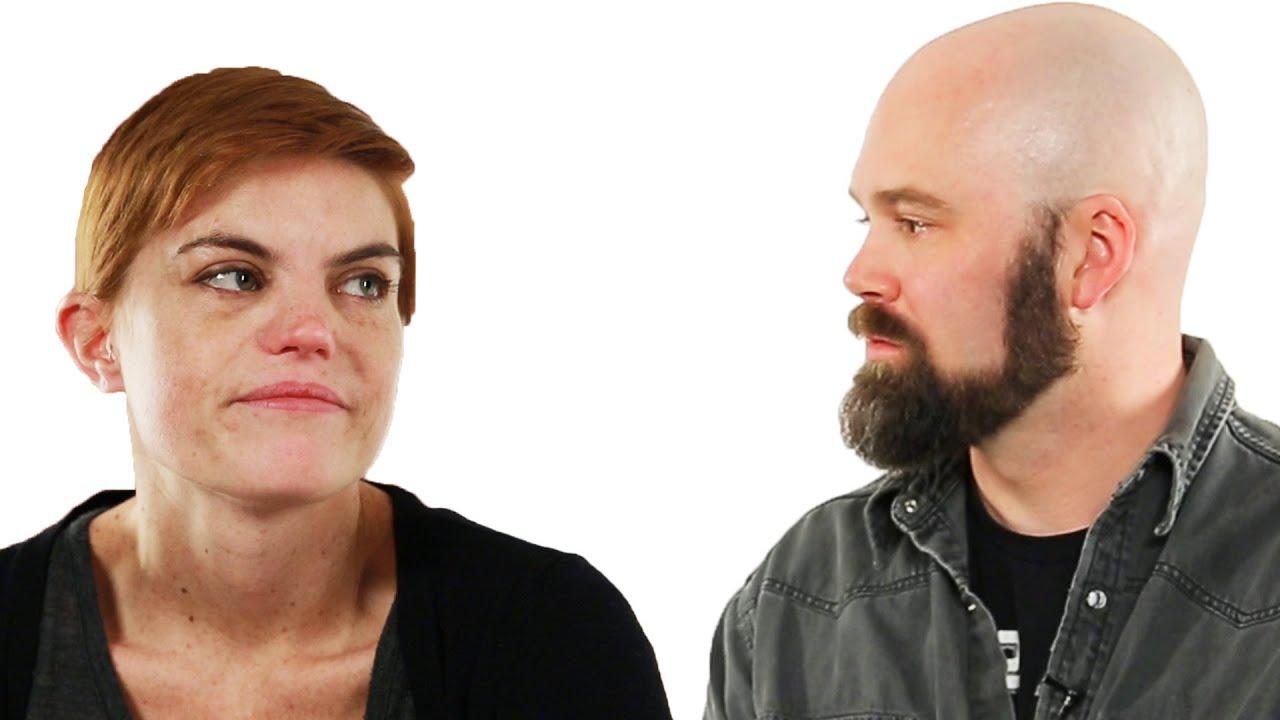 Divorced Couple Looks At Their Wedding Photos thumbnail