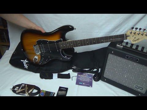 Unboxing ★ Fender Squier Affinitiy Strat HSS Set BS + weiteres Zubehör   Deutsch