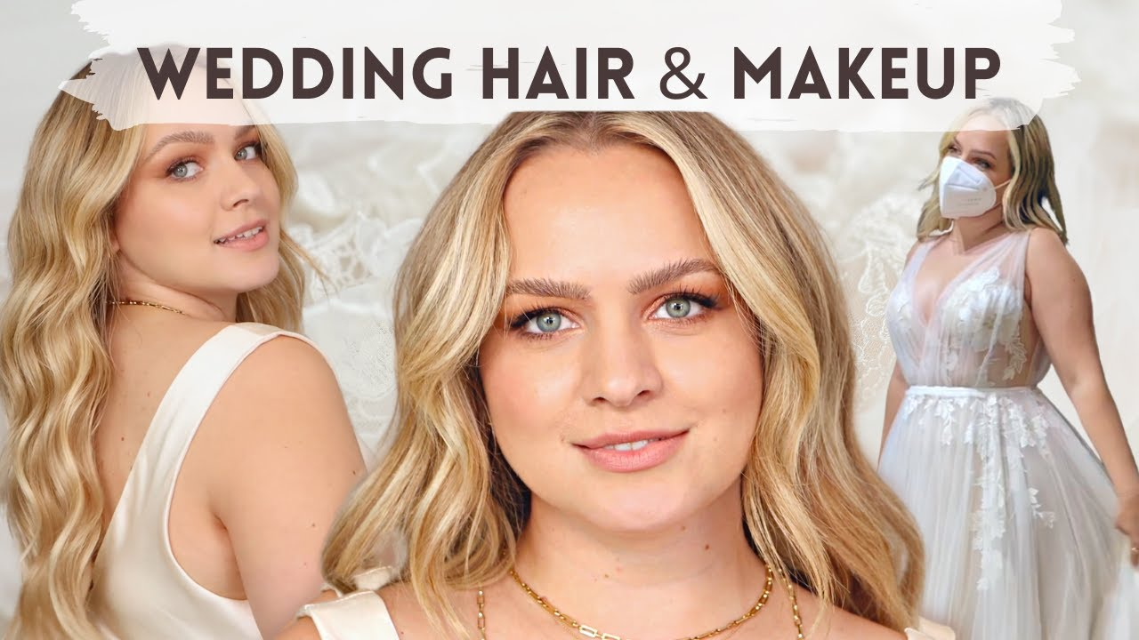 Wedding Hair and Makeup - Get Ready to Try on Wedding Dresses with me! - KayleyMelissa