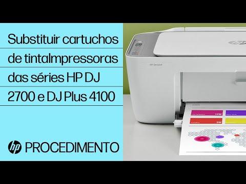 Substituir os cartuchos de tinta nas impressoras HP DeskJet 2700 e DeskJet Plus 4100