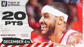 Carmelo Anthony 20 Pts Full Highlights   Kings vs Blazers   December 4, 2019