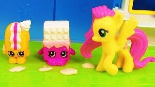 MLP Fluttershy Shopkins Playset Creamy Bun Bun My Little Pony Grocery Store Toy Playing