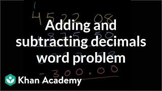 Subtracting Decimals Word Problem