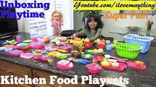 Cute Toy Doll and Kitchen Food Cooking Playsets Unboxing. Food Toys, Cooking Toys and a Doll