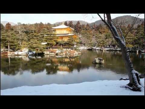 Kinkaku-ji: Golden Pavilion Covered with Snow. Kyoto, Japan 【HD】