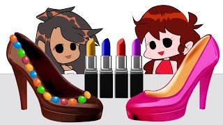 Chocolate Make-up Challenge 초콜릿 화장품 챌린지  Friday Night Pumpkin 프라이데이 나이트펑킨 l animation mukbang