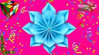 Как сделать объемную СНЕЖИНКУ из бумаги. Снежинка оригами своими руками. Новогодние DIY поделки