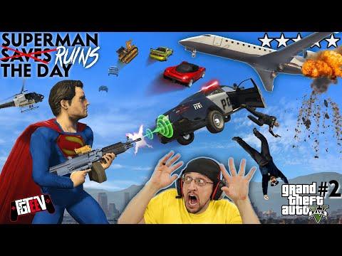 SUPERMAN RUINS THE DAY!  Car Launching Mod 4 GRAND THEFT AUTO 5! FGTEEV = No Friends