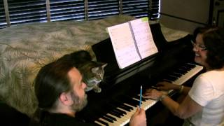 PIANO LESSON with adult beginner, age 66 | featuring Charlie the Cat!