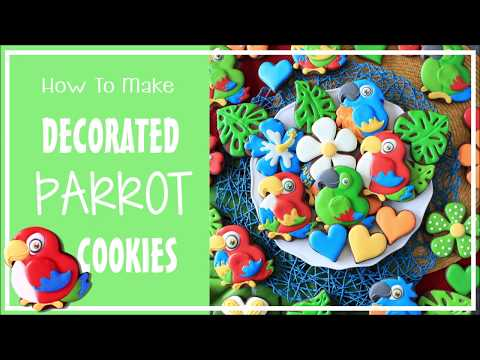 How To Make Decorated Tropical Parrot Sugar Cookies