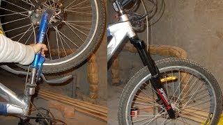 """Замена передней вилки велосипеда, как снять. Рулевая колонка 1 1/8""""d:28.6"""