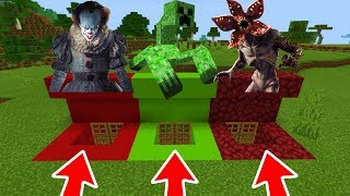 Minecraft PE : DO NOT CHOOSE THE WRONG BUNKER! (Pennywise, Mutant Creeper & Demogorgon)