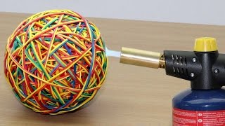 RUBBER BAND BALL vs GAS TORCH