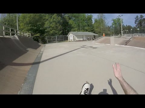 Trying to soul around the corner at Homestead Skate Park in Chapel Hill