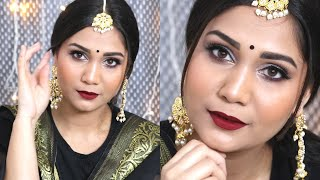 Indian Wedding Guest/Party Makeup For Black Outfits | Makeup For Beginner | Nidhi Katiyar