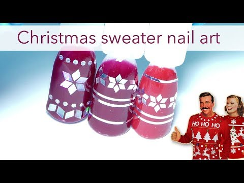 Easy and fast Christmas sweater nails | Nordic style nailart for beginners