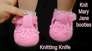 Easy Baby Mary Jane Shoes Knitting,  Baby Booties For  0 To 6 Months
