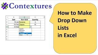Drop Down List in Excel in Worksheet Cell