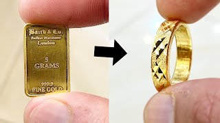 Making A Ring From A Gold Bar | Jewelry Making | Ring Making | How Its Made | Hand Made Ring| 4K