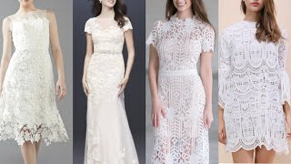 Top 40 Different Types Partywear Pure White Lace Dress Prom Dress Middi Dress