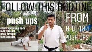 From 0 to 100 PUSH UPS. Follow this routine..