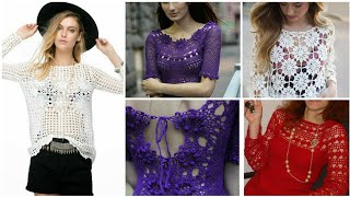Trendy Designer Crochet Lace Pattern Women Fashion Fancy Top Blouse Design/ Boho Fashion Beggie Tops