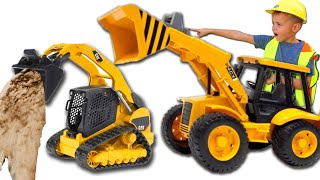 Excavator and Truck - Alex ride on Power Wheels on big Tractor - Compilation