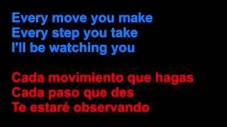 The Police - Every breath you take - Letra en español y en inglés en la pantalla