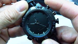 151bef818761 Мужские часы SHARK LED Digital Black Leather