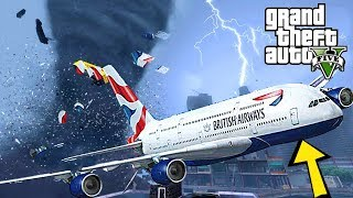 INSANE TORNADO HIT OUR PLANE !!! CRASH LANDING GTA 5 END OF LOS SANTOS MOD - MICHAEL'S FAMILY TRIP