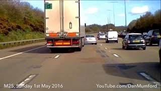 Lorry sideswipes Mercedes - Dashcam Crash - M25