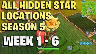 ALL Fortnite season 5 Hidden Battle Star Locations - Season 5 - week 1 to 6