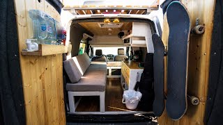TINY CUSTOM VAN CONVERSION | FULL TOUR!!! (  2010 Ford Transit Connect )