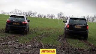 Range Rover v Porsche Cayenne drag racing off road - autocar.co.uk