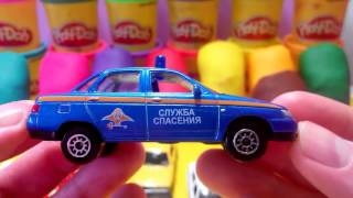 Toy cars are hidden in Play Doh