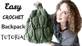 Easy Crochet Leaves BackPack Tutorial