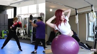BLACKPINK HOUSE EP. 12 - 2 | CHAELISA WORK OUT MOMENTS | LISA BOXING & ROSE PILATES