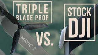 Triple Blade Propeller Vs. DJI Stock Double Blade Prop |  (( MAVIC 2 ) PRO & ZOOM )