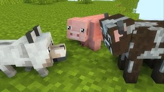 Minecraft Animation   Pig Wolf Cow Life The Top Animals Animations