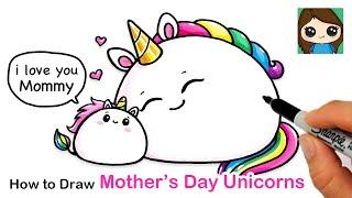 How to Draw Mother's Day Unicorns Easy 🍡🦄 |  Mochicorns