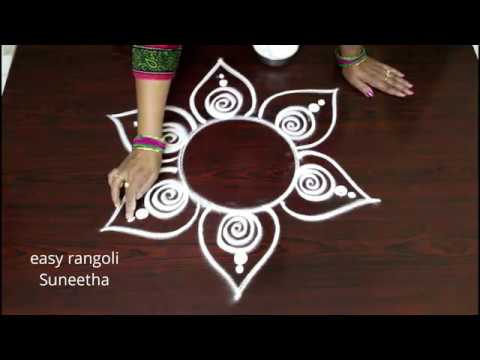 Freehand beautiful kolam designs || easy n simple muggulu rangoli by Suneetharangoli
