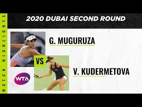, title : 'Garbiñe Muguruza vs. Veronika Kudermetova | 2020 Dubai Second Round | WTA Highlights'