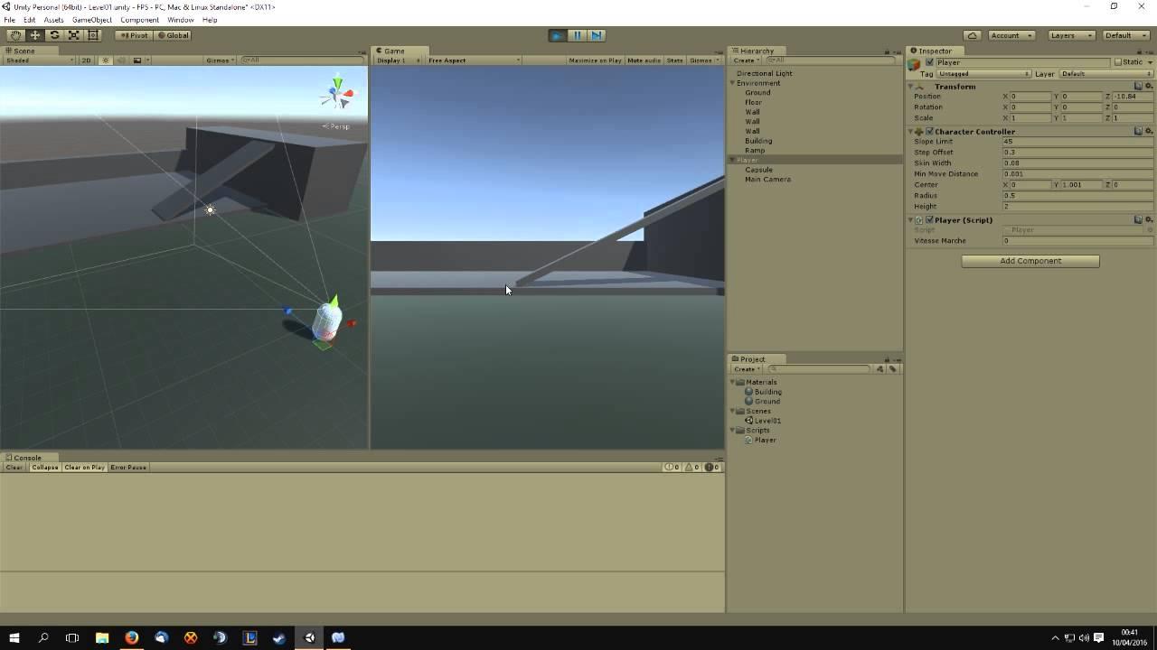 Unity 3D Tuto FR - Les Bases | FPS ep3 le contrôleur FPS 2/2