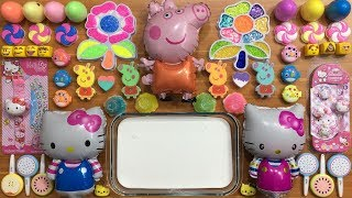 PEPPA PIG and Hello Kitty Slime | Mixing Random Things into Glossy Slime | Satisfying Slime Videos