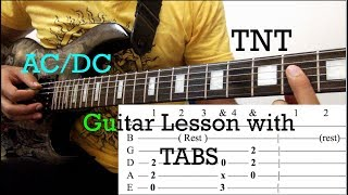 TNT - ACDC: Guitar Lesson with ON SCREEN TABS - Whole Song Tutorial