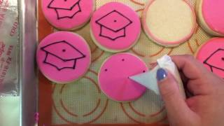 PINK GRADUATION CAP COOKIES | Decorated Sugar Cookies