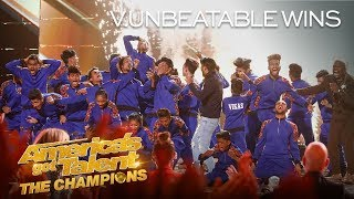 "Congratulations to V.UNBEATABLE for winning Season 2 of America's Got Talent: The Champions! The dance group from India has come so far to win it all. » Get The America's Got Talent App: http://bit.ly/AGTAppDownload » Subscribe for More: http://bit.ly/AGTSub » Watch America's Got Talent: The Champions Mondays 8/7c on NBC! » Stream Anytime: http://bit.ly/AGTFullEpisodes  AMERICA'S GOT TALENT ON SOCIAL Like AGT: https://www.facebook.com/agt Follow AGT: https://twitter.com/agt AGT Tumblr: http://nbcagt.tumblr.com/ AGT Instagram: http://instagram.com/agt  ""America's Got Talent: The Champions"" brings together the world's most talented, memorable and all-around fan-favorite acts from past seasons of ""AGT"" and the other ""Got Talent"" franchises, spanning 194 territories.  Find America's Got Talent: The Champions trailers, full episode highlights, previews, promos, clips, and digital exclusives here.  NBC ON SOCIAL Like NBC: http://Facebook.com/NBC Follow NBC: http://Twitter.com/NBC NBC Tumblr: http://NBCtv.tumblr.com/ NBC Pinterest: http://Pinterest.com/NBCtv/ NBC Google+: https://plus.google.com/+NBC YouTube: http://www.youtube.com/nbc NBC Instagram: http://instagram.com/nbc  ABOUT AMERICA'S GOT TALENT: THE CHAMPIONS Last winter's #1 most-watched alternative series, ""America's Got Talent: The Champions,"" returns for a second season. The series will feature a star-studded panel of judges, including executive producer Simon Cowell, global superstar Heidi Klum, ""AGT's"" longest-running judge Howie Mandel and the newest addition - singer, songwriter and author Alesha Dixon, who joins ""Champions"" from the smash hit ""Britain's Got Talent."" Terry Crews, star of NBC's ""Brooklyn Nine-Nine"" and People magazine's ""Sexiest TV Host,"" returns as host. ""America's Got Talent: The Champions"" brings together the world's most talented, memorable and all-around fan-favorite acts from past seasons of ""AGT"" and from the other ""Got Talent"" franchises around the globe.  V.UNBEATABLE WINS AGT: THE CHAMPIONS SEASON 2! - America's Got Talent: The Champions https://youtu.be/i4AlY5_pL2g  America's Got Talent http://www.youtube.com/user/americasgottalent"