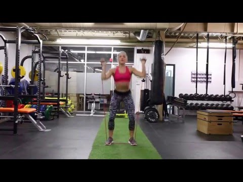 Resistance Band Squat to Shoulder Press
