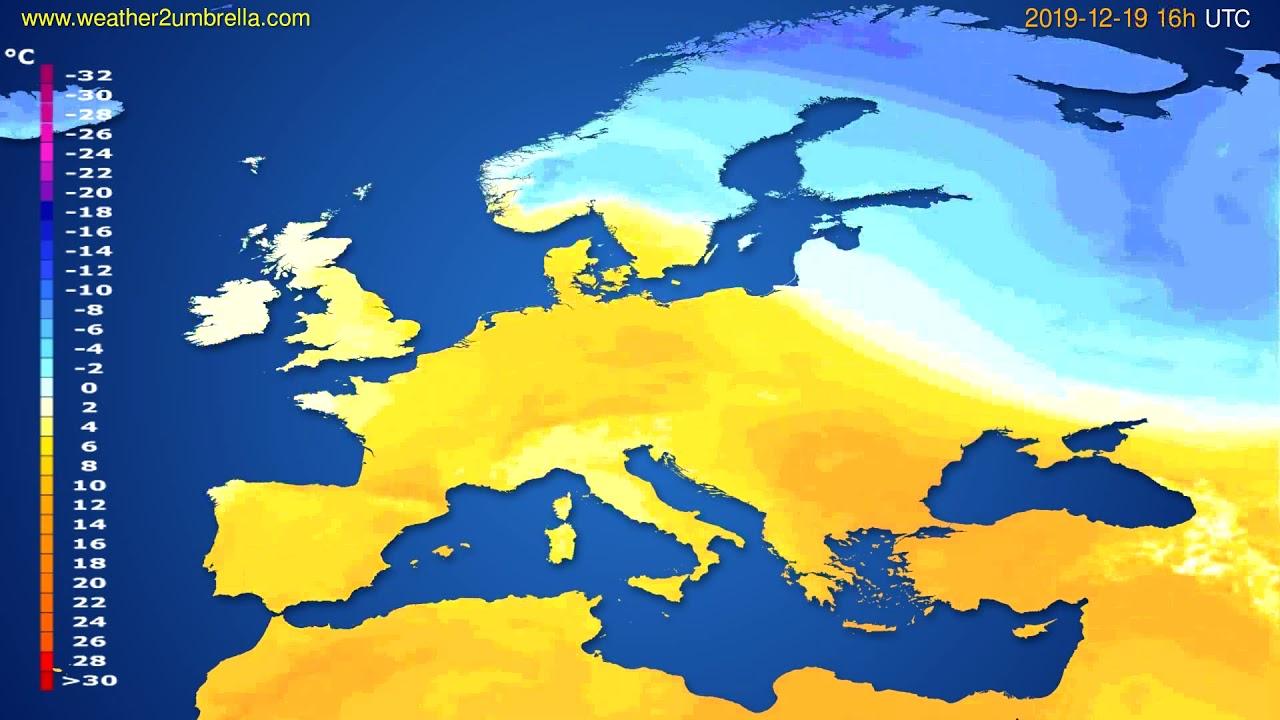 Temperature forecast Europe // modelrun: 12h UTC 2019-12-18